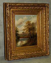 19th C Oil on panel of landscape signed lower left