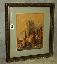 19th C watercolor of cathedrial scene . Site size