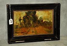 19th C Barbizon school oil on canvas applied to board
