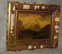 19th C oil on artist board of landscape.