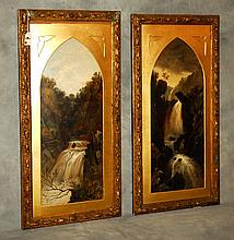 Pair English oil on board landscape paintings signed J.