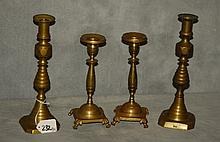 Two pair of early brass candlesticks. Tallest H:10