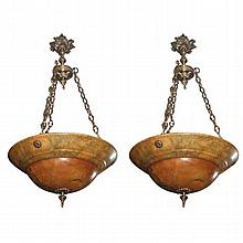 Pair of alabaster and bronze chandeliers. H:35