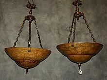 Pair of large alabaster and bronze chandeliers . H:35