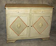 19th C Italian painted 2 drawer over 2 door chest.