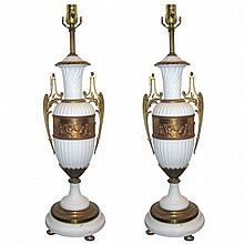 Pair bronze mounted bisque lamps. H:22
