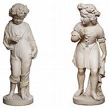 Large pair 19th C Italian marble figures of children