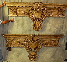 Large pair of carved Italian painted wood friezes. H:
