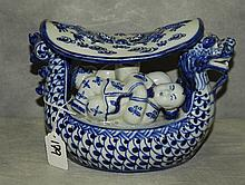 Chinese 19th c blue and white figural porcelain head