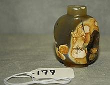Chinese antique carved agate snuff bottle. H:2.5