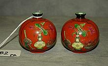 Pair 19th C Chinese porcelain snuff bottles with 4