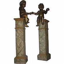 Pair 18th C Italian gilt-wood putti sitting on