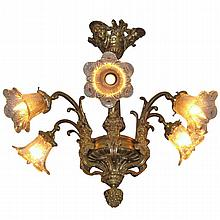 Antique Continental bronze six light chandelier with