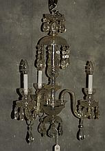 Baccarat style 3 light crystal chandelier. H:25