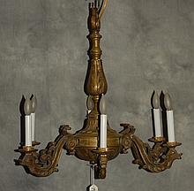 Antique bronze six light chandelier with dolphin form
