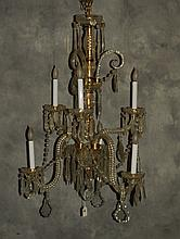 Baccarat style 6 light crystal chandelier. H:32