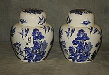 Pair Coalport Willow pattern ginger jars. H:7