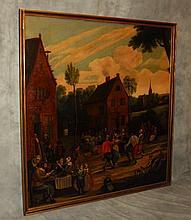 19th c Dutch School oil on canvas. H:64