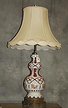 Bohemian glass lamp ruby cut to clear with enamel