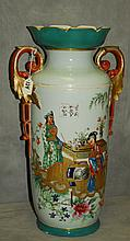 Large antique old paris porcelain 2 handle vase with