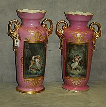 Pair 19th C old paris porcelain 2 handle urns. H:18