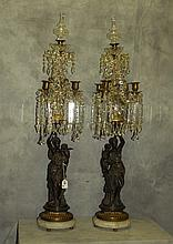 Pair monumental 19th C French figural bronze and