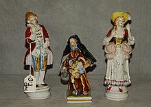 Three porcelain figures. H:8.5