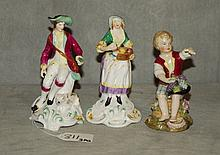 2 Spode and 1 German porcelain figure . H:5.5