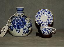Delft and Spode porcelain pieces. H:3.75