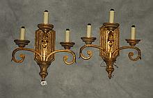 Pair of gilt three branch wall sconces. H:20