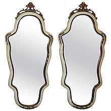 Pair antique Italian painted mirrors. H:47