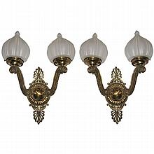 Pair bronze wall sconces with onion shape shades .