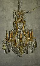 Large Baccarat style bronze and crystal 14 light