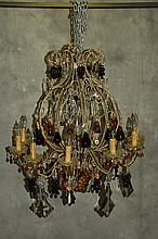 Large crystal and colored glass 10 light chandelier
