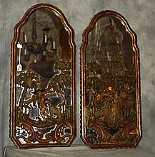 Pair 19th C Italian carved polychrome and partial gilt