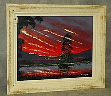 Florida Highwaymen painting oil on panel by John Maynor