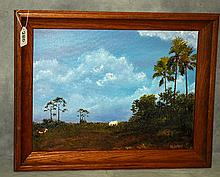 Florida Highwaymen style painting oil on panel signed
