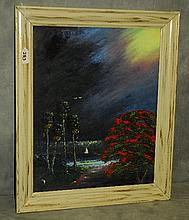 Florida Highwaymen painting oil on panel by C. Wheeler.