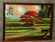Florida Highwaymen painting oil on panel by T. Newton