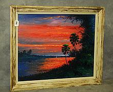Florida Highwaymen painting oil on panel by J.Daniels