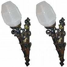 Pair antique bronze and iron torchiere wall sconces.