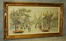 Parisian street scene oil on canvas signed lower right.