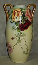 Large antique Austrian porcelain floral vase. H:20
