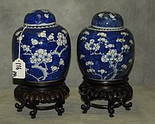 Pair 19th C Chinese blue and white porcelain covered