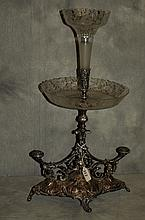 Silverplated and etched glass Epergne. H:23