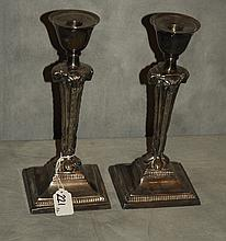 Pair Empire style silverplated candlesticks. H:11.5