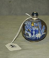 Chinese 19th C porcelain snuff bottle with double blue