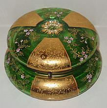 Bohemian green and gilt and enamel decorated box