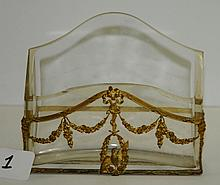 Antique bronze and crystal letter holder. H:5.75