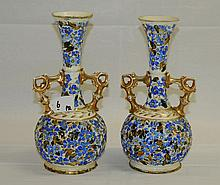 Pair of Hungarian porcelain vases. H:10.75
